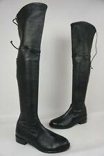 Stuart Weitzman Lowland Over the Knee Leather Nero Plunge Boots Black Size 5 M