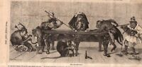 1875 Leslies illustrated April 10 - Monkeys playing Billiards
