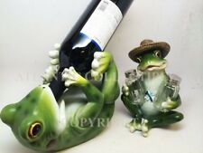 KITCHEN GREEN FROG PICNIC TOAD WINE BOTTLE HOLDER & SALT PEPPER SHAKERS HOLDER