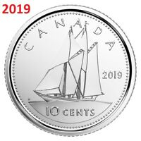 🇨🇦 2019 Canada 10 cents UNC coin, Bluenose Schooner Dime, 2019