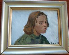 ANTIQUE RUSSIAN SOVIET IMPRESSIONISM PAINTING TEEN GIRL PORTRAIT BY ORLOV 1949