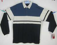 NWT Men's Large ARROW VARSITY PREP Blue & Creme Long Sleeve Polo Shirt