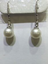 (625$)18k Solid White Gold Dangle Earrings with Natural Diamonds and Pearl10mm