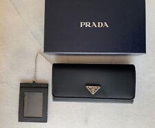 Portafoglio donna PRADA pelle saffiano nero nylon portacarte wallet leather