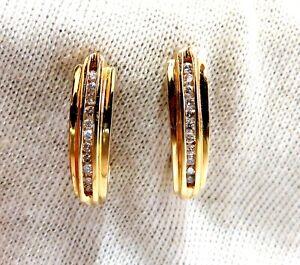 .22ct Diamonds Semi Hoop Earrings 14kt