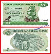 ZIMBABWE 5 Dollars dolares 1994 Watermark type II Pick 2e SC / UNC