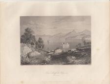 Schiff des Ulysses Corfu Griechenland Orig Stahlstich P. Heawood 1850
