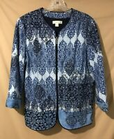 Coldwater Creek Embroidered Jacket - Size 12 - Zip Front, 3/4 Sleeve -Blue, Nice