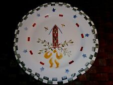 "Hand Painted & Signed Birdhouse Plate 10 1/4"" Round~Americana Folk Art"