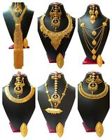 Indian 22K Gold Plated Wedding Necklace Earrings Jewelry Variations tikka Set bb