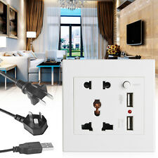 2.1A Dual USB Wall Socket Charger AC/DC Power Adapter Plug Outlet Panel w/Switch