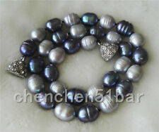 kultiviert 10-11mm grau schwarze Süßwasser-Perlenkette 18-Zoll-Magnetverschluss