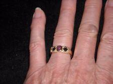 18k yellow gold vintage ruby sapphire diamond band .65 TCW size 7.5  4 grams 652
