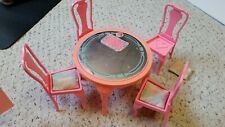 BARBIE Dining Room MATTEL 1984 Sweet Roses Table with Chairs and Accessories