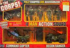 RARE THE CORPS 4-Man Action Squad-Stealth Cycle, Command Copter, Recon Ranger