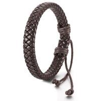 Handmade leather bracelet 22.5cm long brown Y5A8