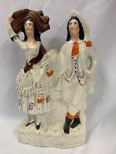 "Victorian Staffordshire Large Flatback Woman & Man Figurine  H12 1/2"""