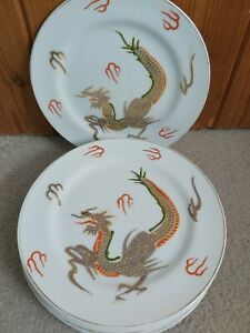 6 Vintage Oriental Side Plates, Chinese, Japanese Dragon Plates
