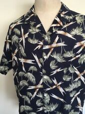 KULABAY TROPICAL CLOTHING HAWAIIAN SHIRT ~ Navy Blue Bamboo Print ~ XL ~ Aloha