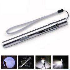 Flashlight Stainless Steel LED Torch Light Lamp Mini Pen USB Rechargeable Beam