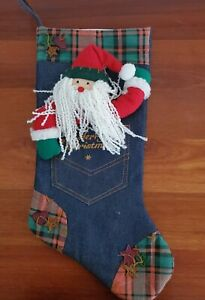 Santa Christmas Stocking denim 3 dimensional country style