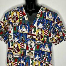 Peaches Christmas Scrub Smock Top Shirt Mens Womens 4XL Santa Snowman