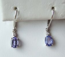 Colleen Lopez, Tanzanite and White Zircon Sterling Silver Drop Earrings