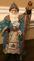Santa Claus Figurine Figure Ceramic With Bells Holidays Christmas Collectible