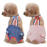 Washable Jeans Female Dog Diaper Pet Pant Reusable Puppy Overalls Doggie Diapers