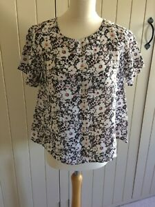 LIBERTY LONDON UNIQLO Short Sleeve Relaxed Fit Grey Floral Boxy Top Linen small