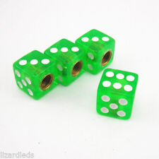 4x Green Dice Die Valve Stem Chrome Air Tire Caps Tyre Covers Universal Chromies