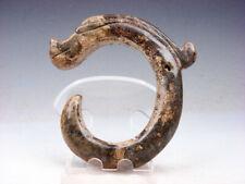 Old Nephrite Jade Carved HongShan Culture Sculpture C Shaped Dragon #07111908