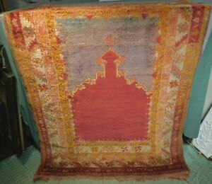Antique Anatolian All Wool Handmade Turkish Prayer Rug 1920s Bold Color Worn