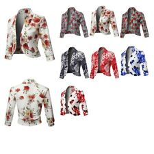 FashionOutfit Women's Floral 3/4 Sleeves Open Front Bolero Blazer - Made in USA