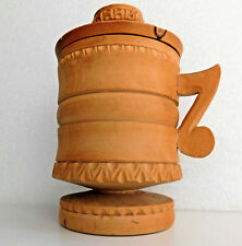 Vintage treen cup with lidand handle Turned wood carved frieze decoration