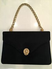 Vintage Manon Purse Gold Chain Black Shoulder Bag Purse with Mirrow
