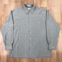 Vintage 90s PIERRE CARDIN Mens Check Shirt   Rayon Retro   Large L Grey