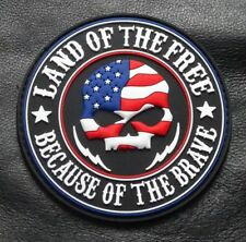 Land of the Free Skull 3.0 INCH MORALE HOOK FASTENER PATCH (3D-PVC Rubber)