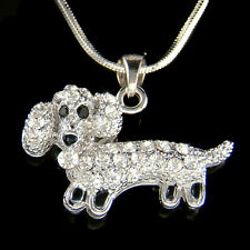 w Swarovski Crystal Cute Mini Dachshund Puppy Doxie Hot Dog Charm Chain Necklace