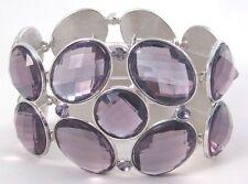 Gorgeous New Purple Rhinestone Silvertone Bangle Stretch Bracelet #B1309