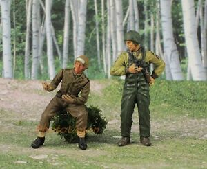 S392 1:32 Soldier Figure WW2 American Artillery Cannon Commander Loader Painted