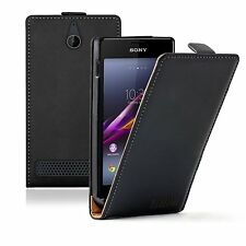 Ultra Slim Cuero Negro Funda Bolsa Para Sony Xperia E1 Dual d2105 Experia