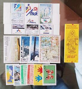 Años completos Sellos Andorra francesa nuevos, 1979 a 1996 PRINCIPAT D'ANDORRA