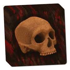 Gothic Human Skull Thin Cork Coaster Set of 4