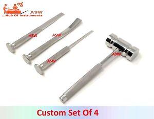 Orthopedic Osteotome Gouge orthopedic Chisel orthopedic Bone Mallet Set of 4