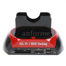 "2.5"" 3.5"" SATA/IDE HDD 2-Dock Dual Bay Hard Drive Docking Station WB X7V6"