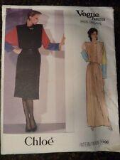 Vogue 1100 Chloe Paris  Designer Original 1980's Pattern size 8 Uncut