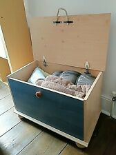 Wooden Toy Storage / Box | Blue Fronted
