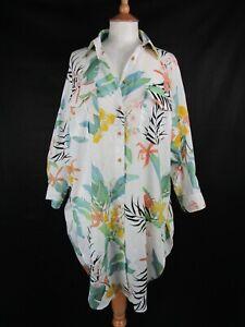 Zara White Tropical Floral Oversize Shirt Dress Size M/L UK 12-14