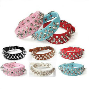Adjustable Small Dog Collar Harness Spiked Studded Faux Leather punk rivet dog